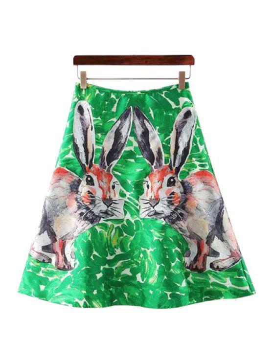 lady Two Rabbits Print Back Zipper Skirt - GREEN M