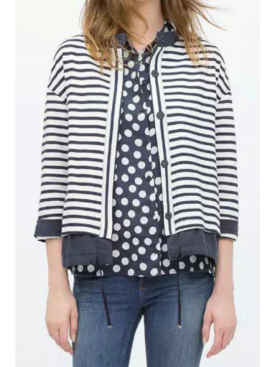 chic Stripes Stand Neck Nine-Minute Sleeve Jacket - STRIPE S