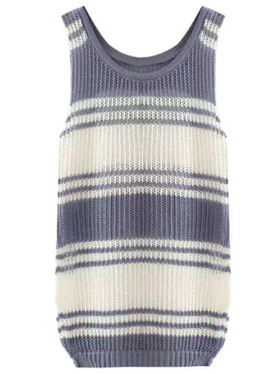 trendy Color Block Stripe Sleeveless Sweater - GRAY S
