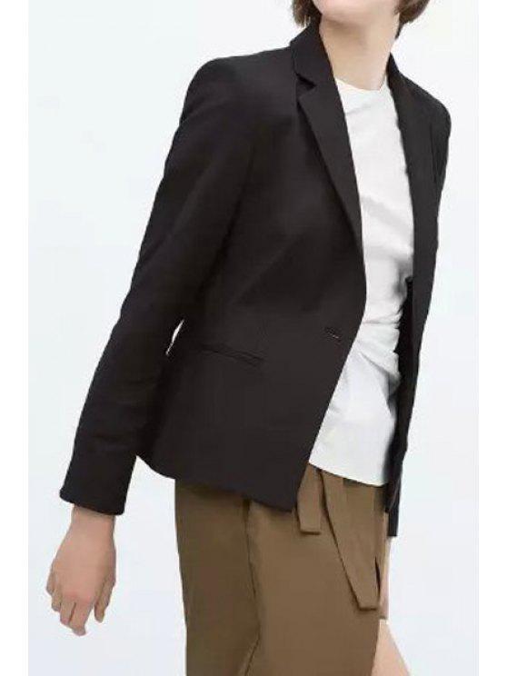 shops Solid Color Long Sleeve Lapel Blazer - BLACK S