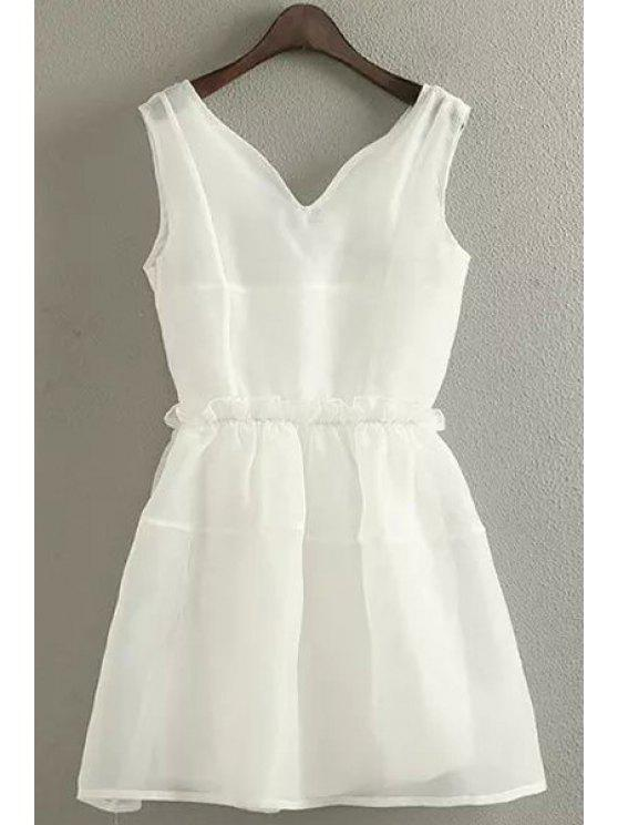 chic Solid Color Ruffle Elastic Waist Sleeveless Dress - WHITE S