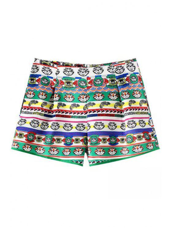 chic Cartoon Tiger Print Shorts - WHITE AND GREEN L