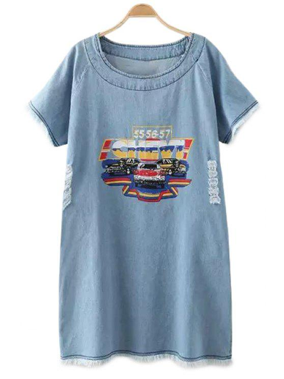 sale Car Print Short Sleeve Denim Dress - LIGHT BLUE ONE SIZE(FIT SIZE XS TO M)