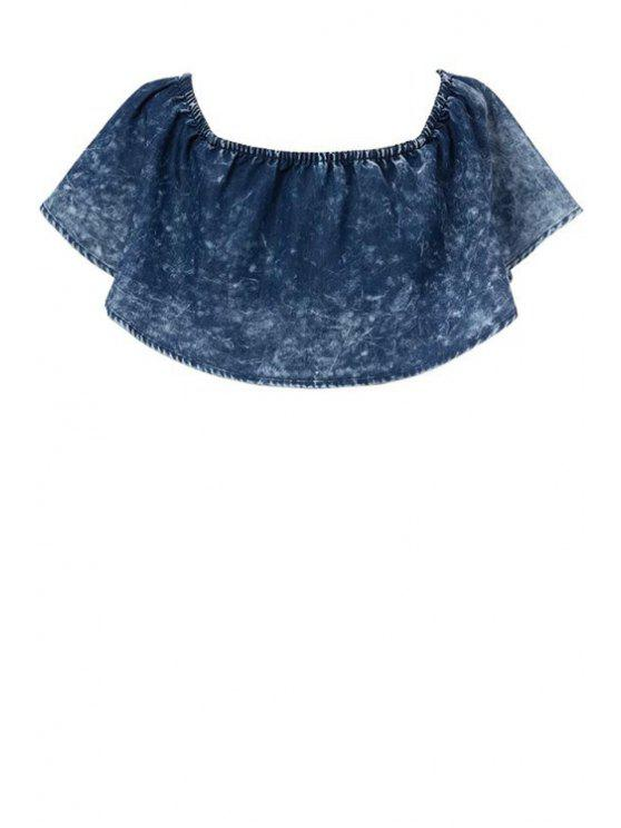 fashion Flouncing Denim Solid Color Crop Top - BLUE S