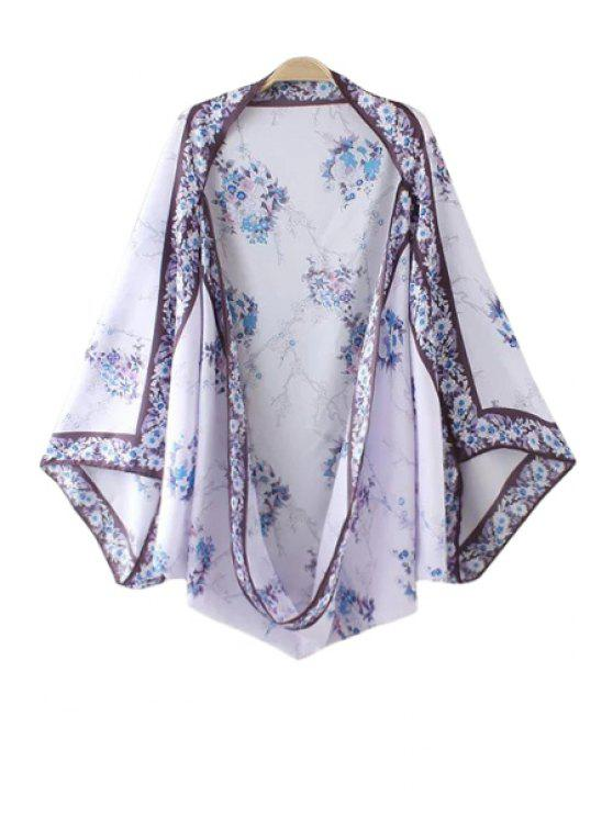 buy Floral Bat-Wing Sleeve Kimono - PURPLE ONE SIZE(FIT SIZE XS TO M)