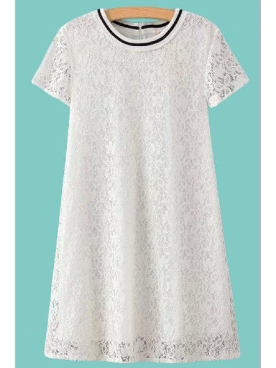 chic Short Sleeve Lace A Line Dress - WHITE S