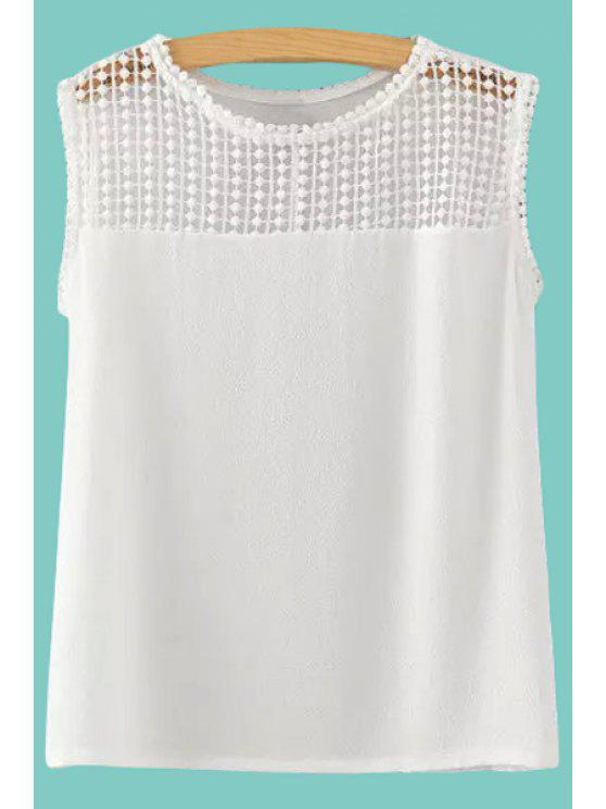 best Hollow Out Spliced Tank Top - WHITE S