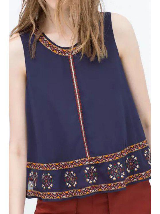 fashion Ethnic Embroidery Chiffon Tank Top - DEEP BLUE M