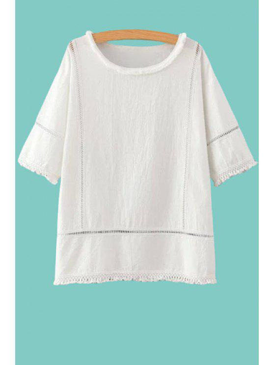 outfit White Hollow Half Sleeve T-Shirt - WHITE ONE SIZE(FIT SIZE XS TO M)