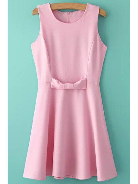 womens Solid Color Bowknot Sleeveless Dress - PINK S