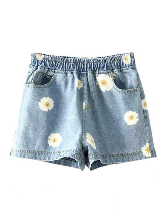 unique Flowers Print Denim Shorts - LIGHT BLUE M
