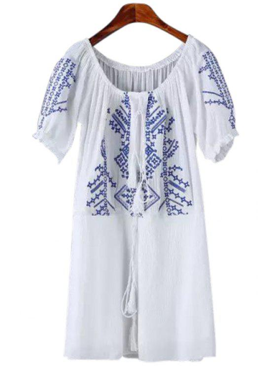 affordable Short Sleeves Embroidery Dress - WHITE S