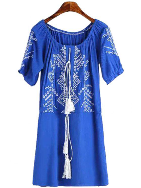 best Short Sleeves Embroidery Dress - LIGHT BLUE M