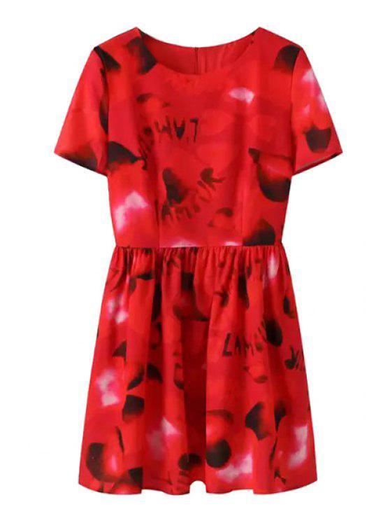 ladies Heart Letter Print Short Sleeve Dress - RED S