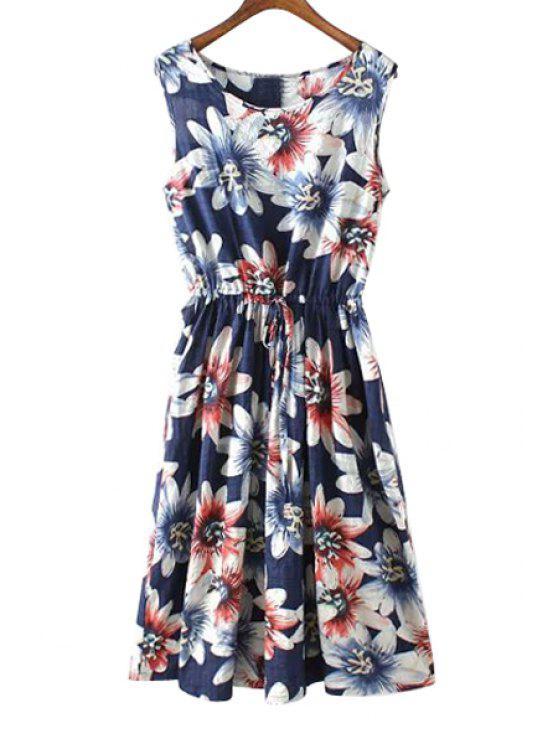 ladies Floral Print Ruffle Tie-Up Sleeveless Dress - PURPLISH BLUE S