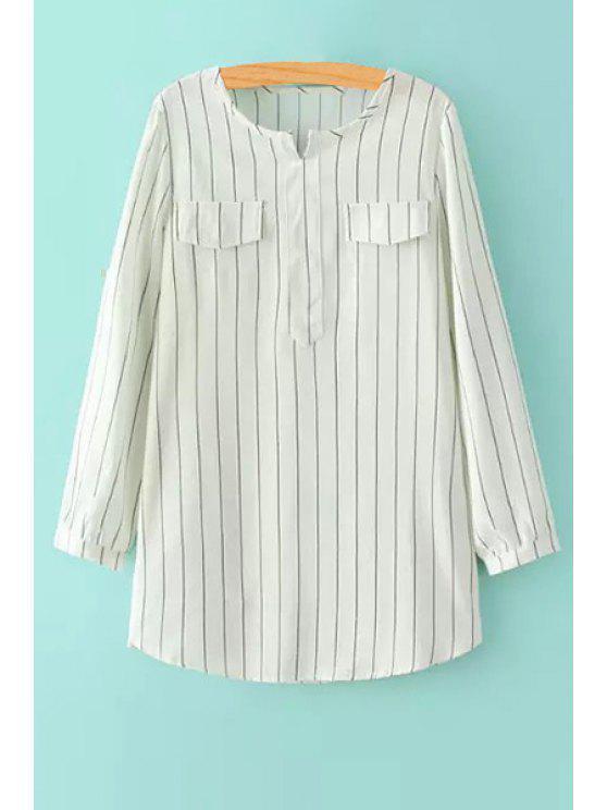 new V-Neck Striped Long Sleeve Shirt - WHITE S