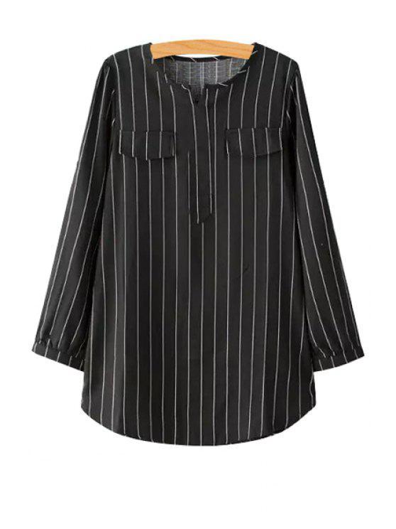 fashion V-Neck Striped Long Sleeve Shirt - BLACK M