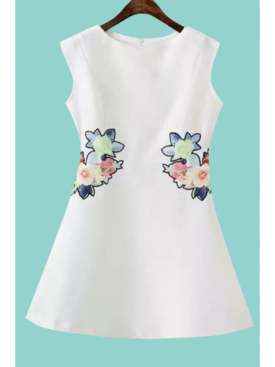 best Floral Embroidery A Line Sundress - WHITE M
