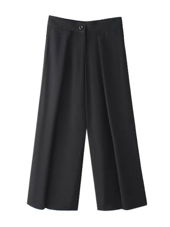 best Solid Color Loose-Fitting Zipper Fly Pants - BLACK S
