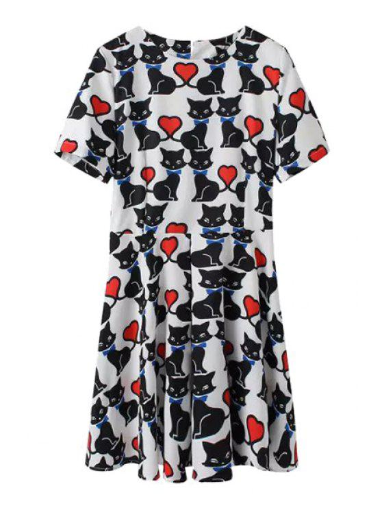 sale Kitten Print Short Sleeves A Line Dress - BLACK AND WHITE AND RED S