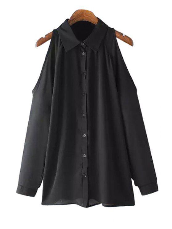 sale Solid Color Off-The-Shoulder Long Sleeve Shirt - BLACK S