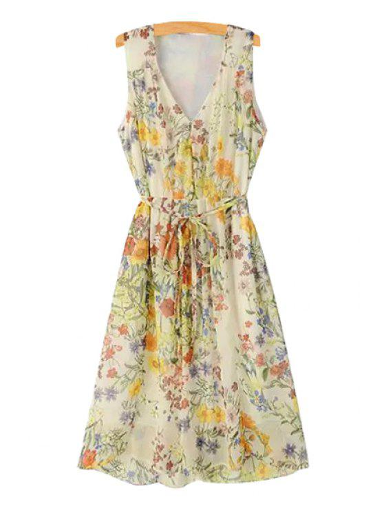 outfit Tie-Up Colorful Floral Print Sleeveless Dress - YELLOW S