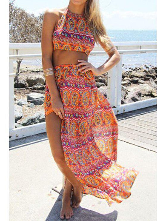women Halter Backless Crop Top + Ethnic Pattern Skirt Twinset - ORANGE M