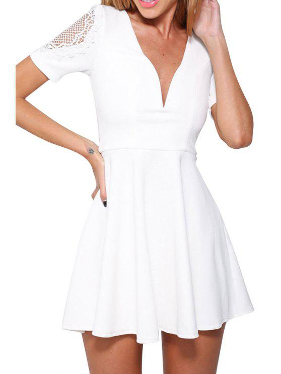 shops Lace Splicing Solid Color Short Sleeve Dress - WHITE ONE SIZE(FIT SIZE XS TO M)