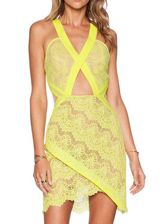 shop Cross Backless Openwork Lace Sleeveless Dress - YELLOW ONE SIZE(FIT SIZE XS TO M)