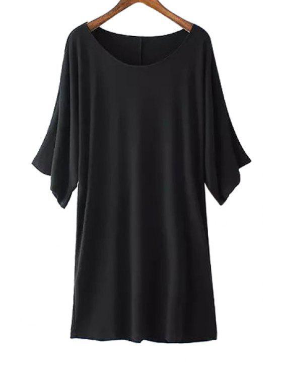 shop Solid Color Half Sleeve Modal Dress - BLACK S