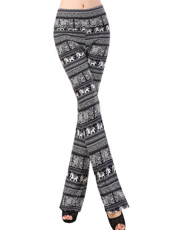 trendy Elephant Print Stripe Pants - BLACK ONE SIZE(FIT SIZE XS TO M)