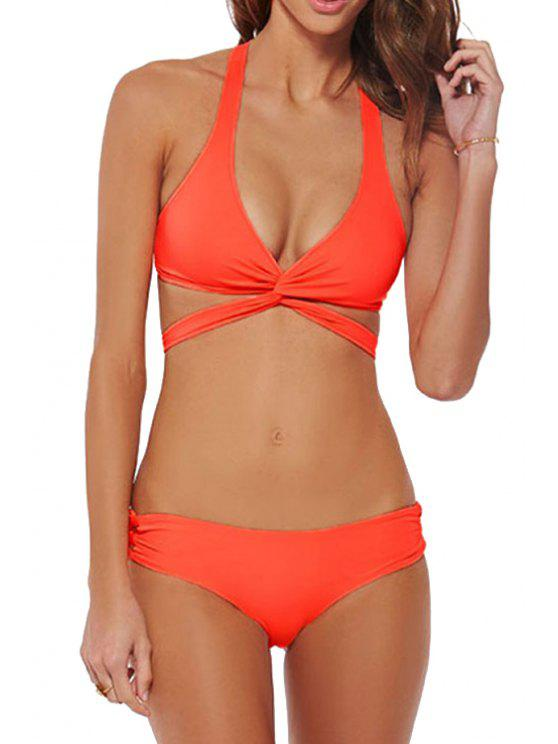 outfits Cross Tie-Up Solid Color Bikini Set - ORANGE S