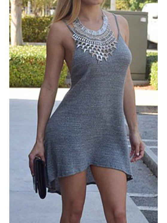 buy Spaghetti Strap Backless Asymmetrical Dress - GRAY S