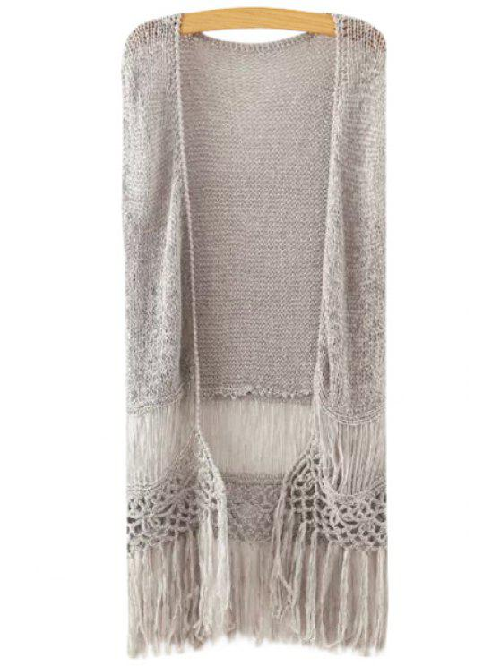 hot Fringe Splicing Openwork Sleeveless Knit Waistcoat - GRAY ONE SIZE(FIT SIZE XS TO M)