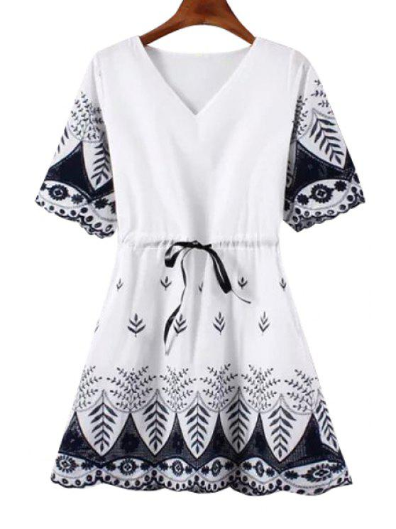 online Floral Embroidery V Neck A Line Dress - WHITE AND BLACK ONE SIZE(FIT SIZE XS TO M)