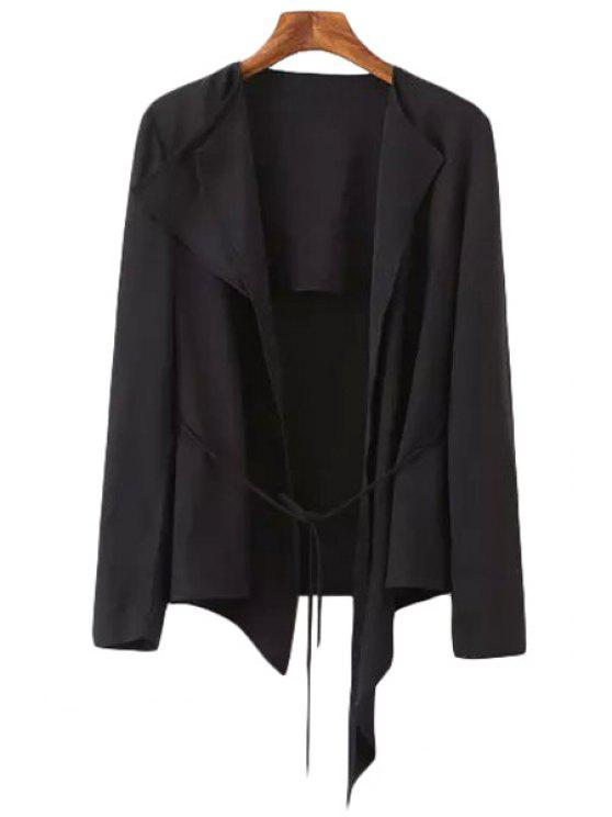 hot Tie-Up Asymmetrical Long Sleeve Blazer - BLACK S