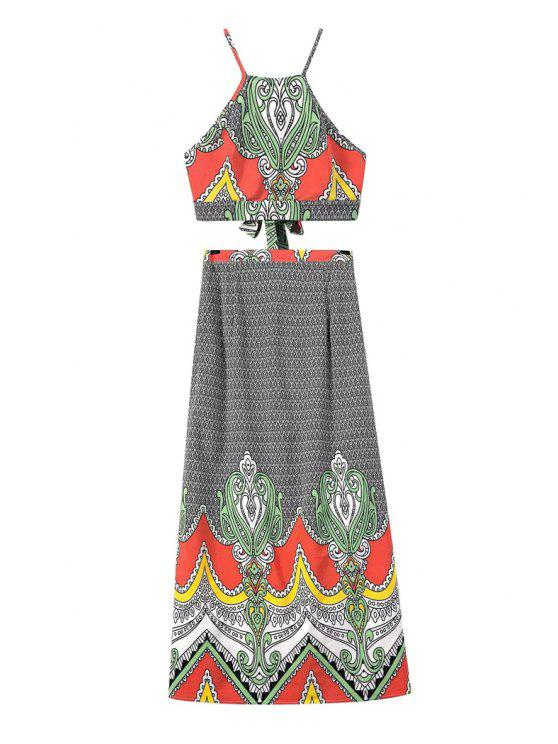 shop Spaghetti Strap Crop Top and Vintage Print Skirt Suit - AS THE PICTURE S