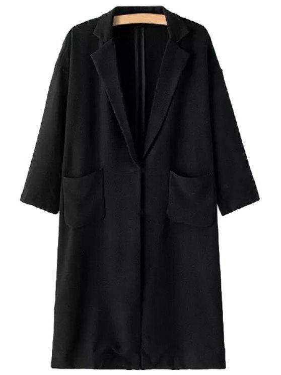 ladies Solid Color Pocket Long Sleeve Trench Coat - BLACK ONE SIZE(FIT SIZE XS TO M)