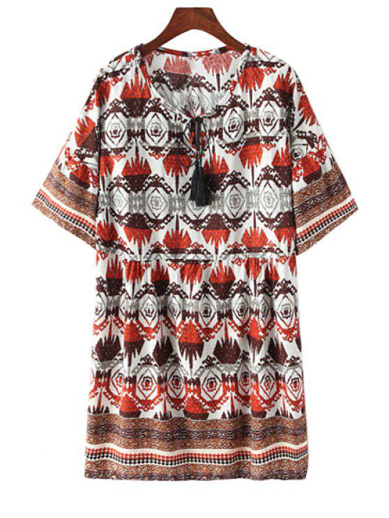 lady Short Sleeve Vintage Print Dress - RED ONE SIZE(FIT SIZE XS TO M)