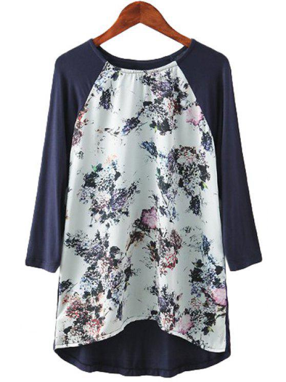 Impresión floral de empalme de manga larga T-Shirt - Colormix S