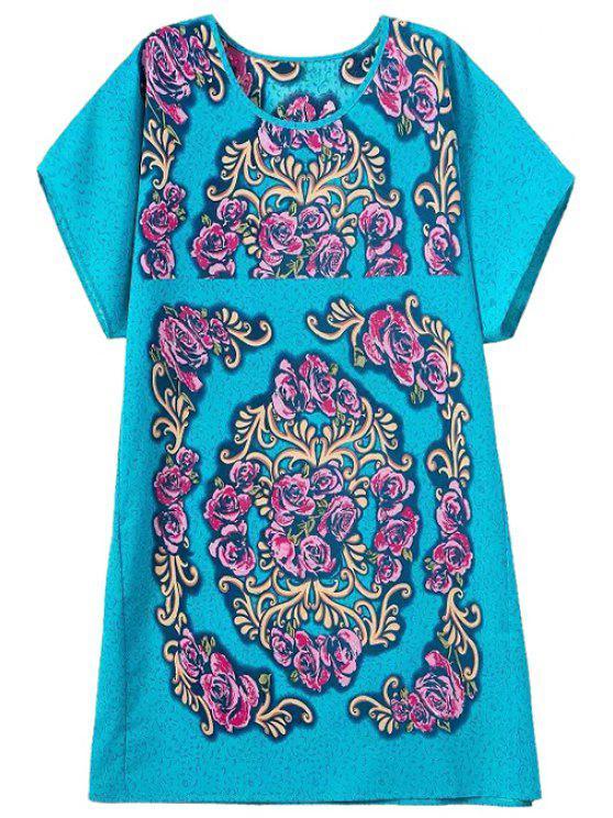fashion Floral Print Jewel Neck Straight Dress - COLORMIX S