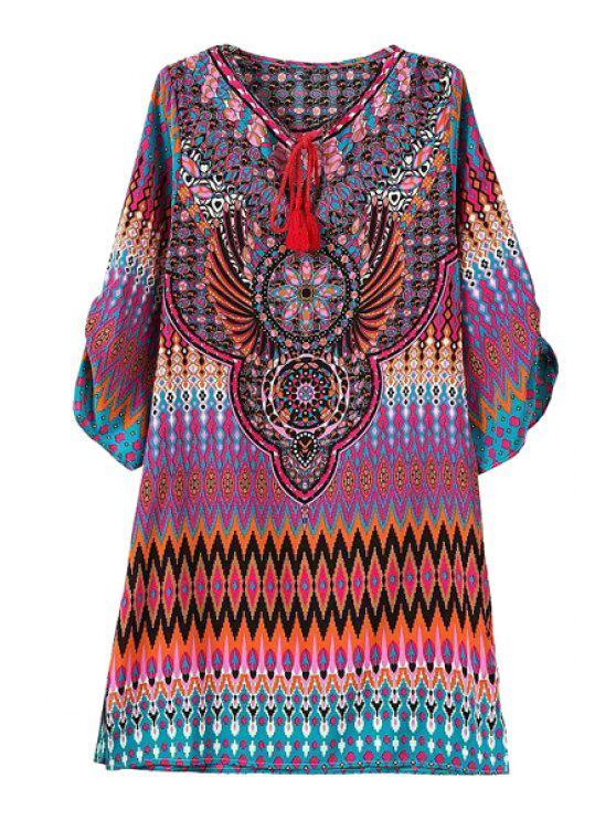 fashion Vintage Print V Neck 3/4 Sleeve Dress - ROSE L