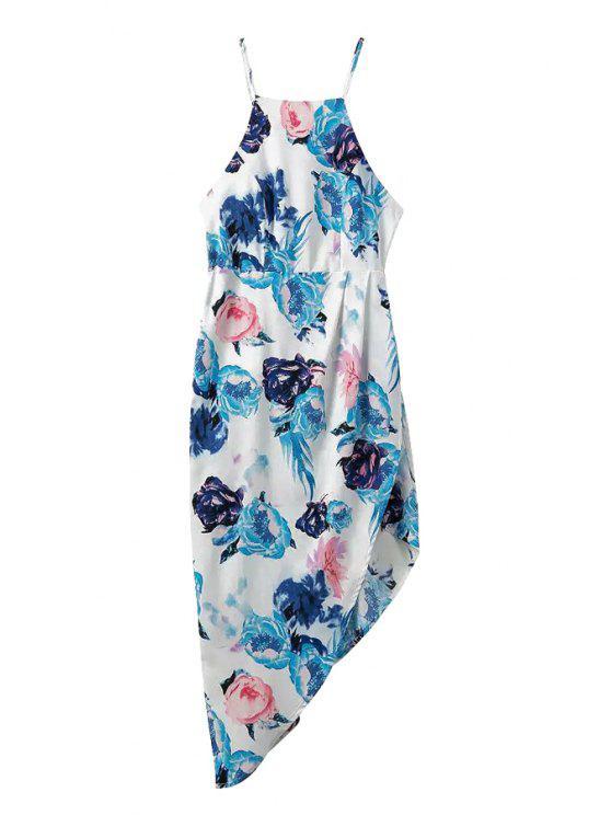 fancy Flower Print Spaghetti Strap Dress - LAKE BLUE S