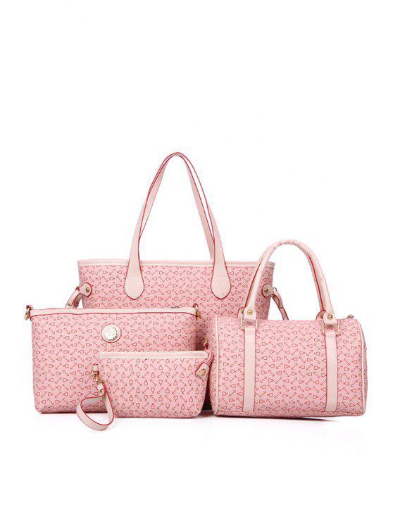 ladies Printed Rivets Belts Shoulder Bag - PINK