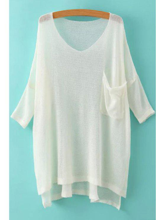 sale High Low Pocket Solid Color 3/4 Sleeve Sweater - WHITE ONE SIZE(FIT SIZE XS TO M)