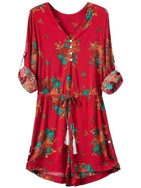 fancy Floral Print V Neck Long Sleeve Romper - RED S