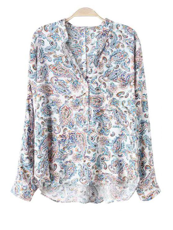 lady Paisley Print V Neck Long Sleeve Shirt - LIGHT BLUE S
