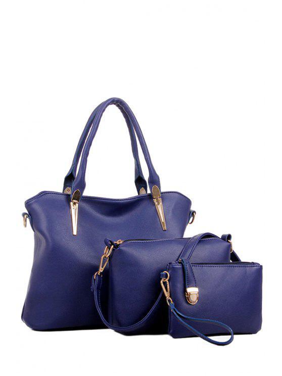 online Solid Color Zipper Metal Tote Bag - DEEP BLUE