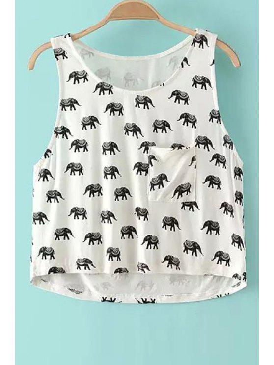 ladies Elephant Print Scoop Neck Tank Top - WHITE S