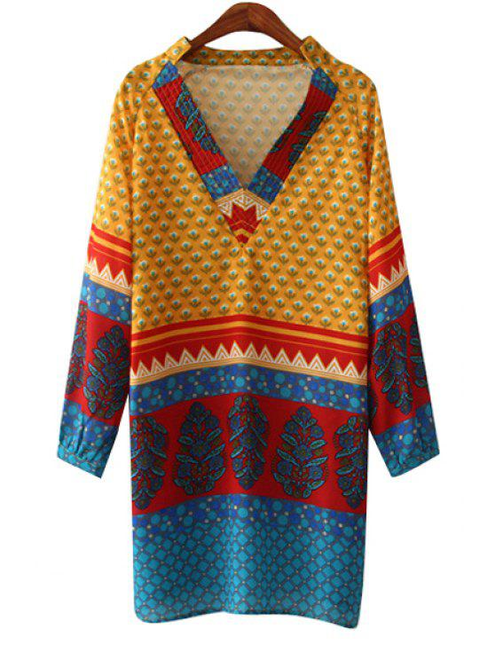 women's Print Spliced V Neck Long Sleeve Dress - AS THE PICTURE S